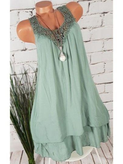 Women Sleeveless Round-neck Lace Plus Size Short Dress