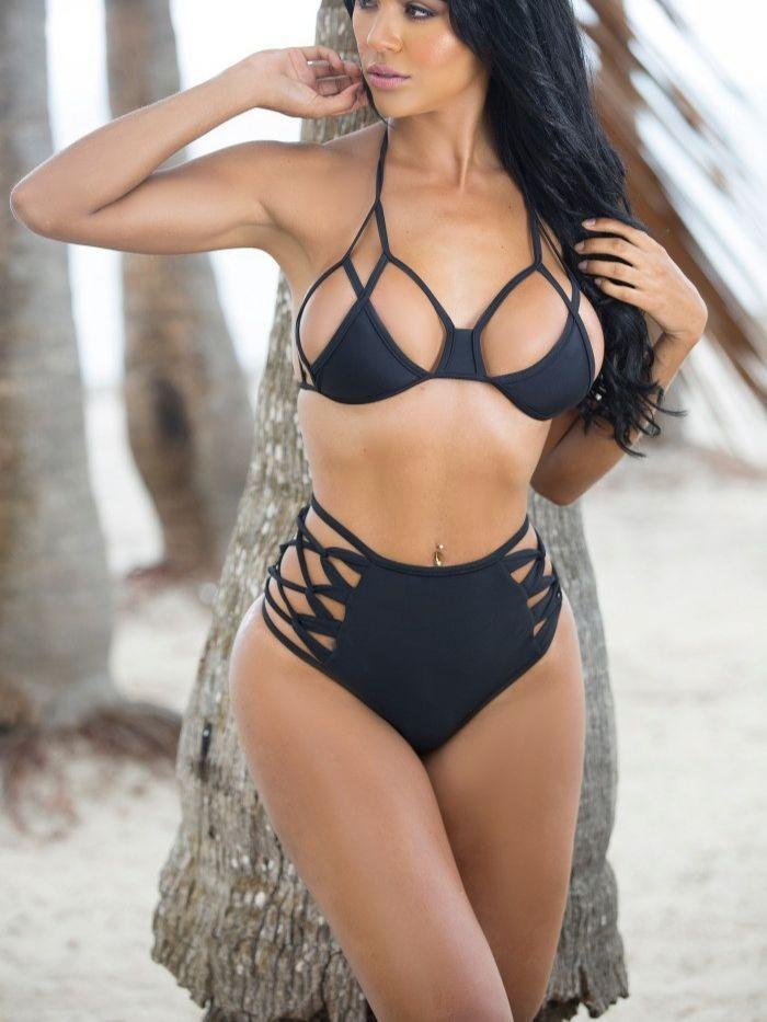 Halter Neck Bikini Top & Bottom Set in Black