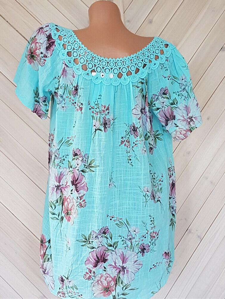Women's Floral Printed Short Sleeve V-neck Tops Blouse