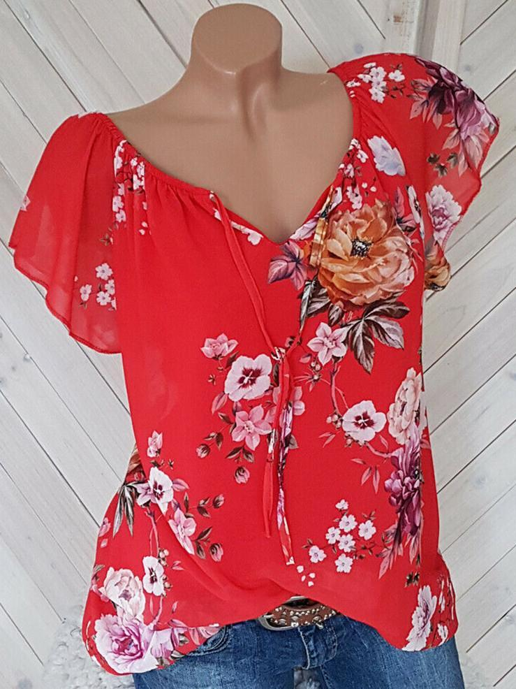 Women's Floral Printed Short Sleeve V-neck Plus Size Tops Blouse