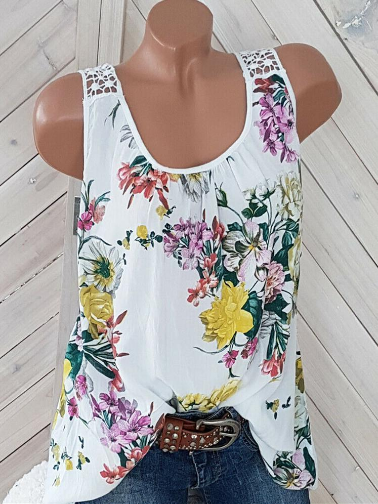 Women's Floral Printed Lace Stitching Sleeveless Tops