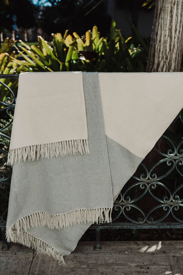 handmade, 100% Cotton blanket with color-blocked design in grey and natural color ways