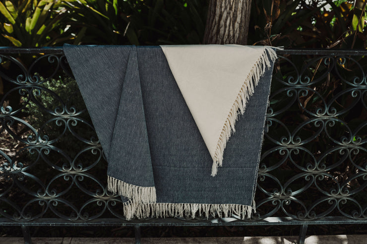 handmade, 100% Cotton blanket with color-blocked design in Blue and natural color ways
