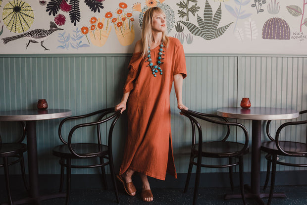 Chesen Caftan in Terracotta Rose
