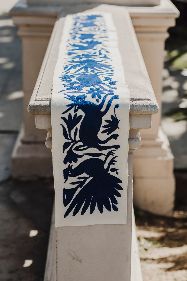 Blue Otomi Table Runner