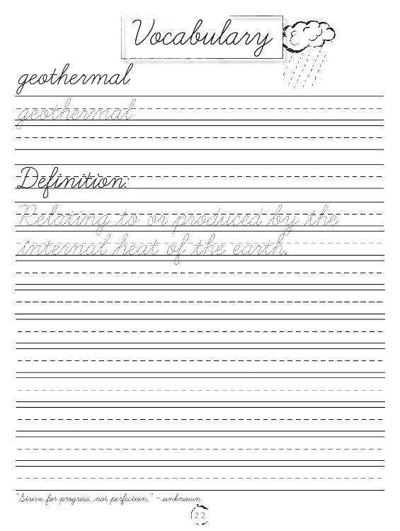Earth Science Cursive Writing Book (DIGITAL)