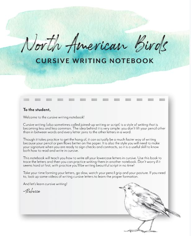 North American Birds Cursive Writing Notebook (HARD COPY)