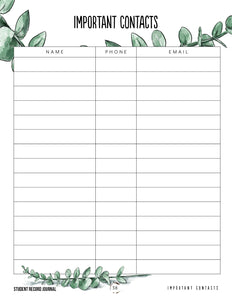 Student Tracker Journal (Hard Copy)