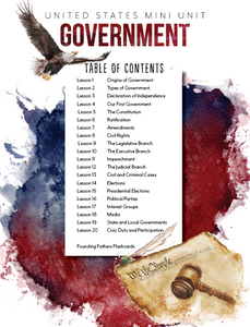 US Government Mini Unit Student Notebook (HARD COPY)
