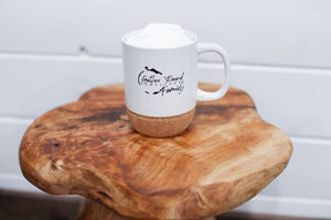 Gather 'Round 12 oz White Ceramic Mug w/Cork Bottom and Lid