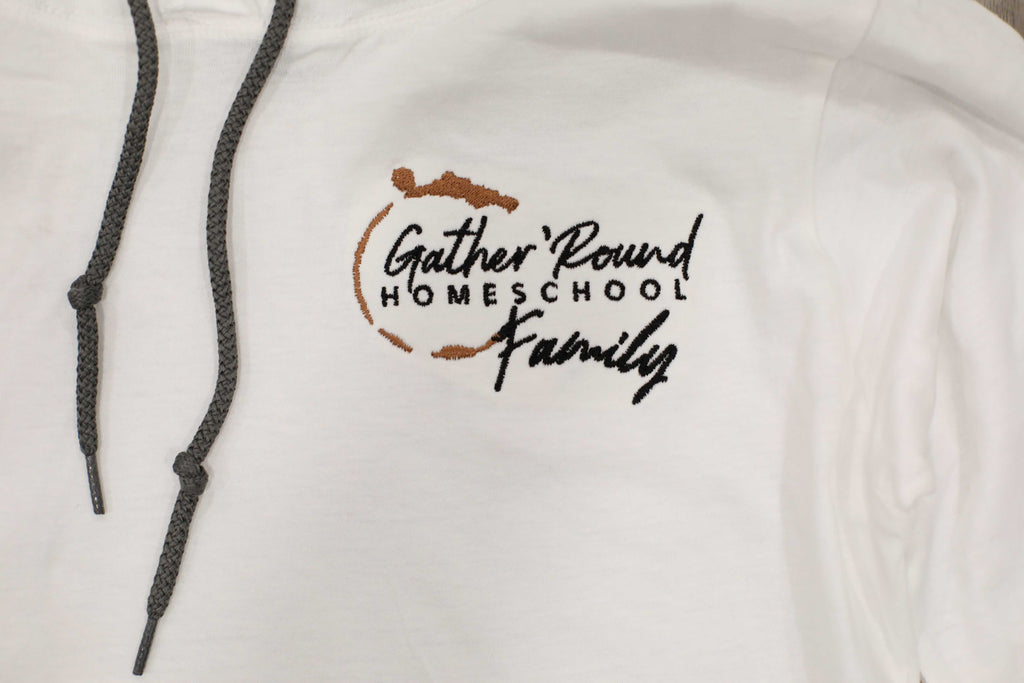 Gather 'Round White Hooded Shirt