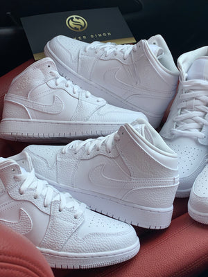 NIKE AIR JORDAN 1 MID TRIPLE WHITE
