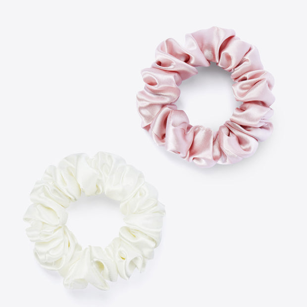 Silk Hair Scrunchie- Pink and White