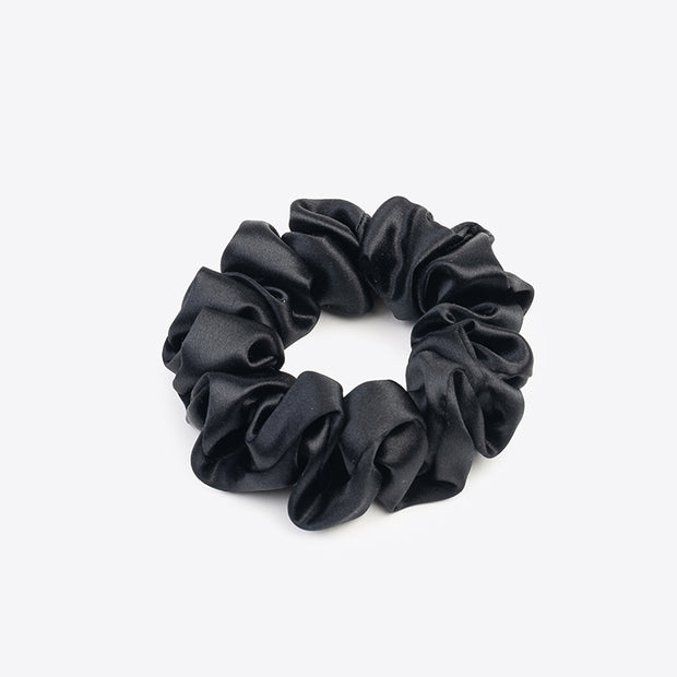 Silk Hair Scrunchie- Black and White