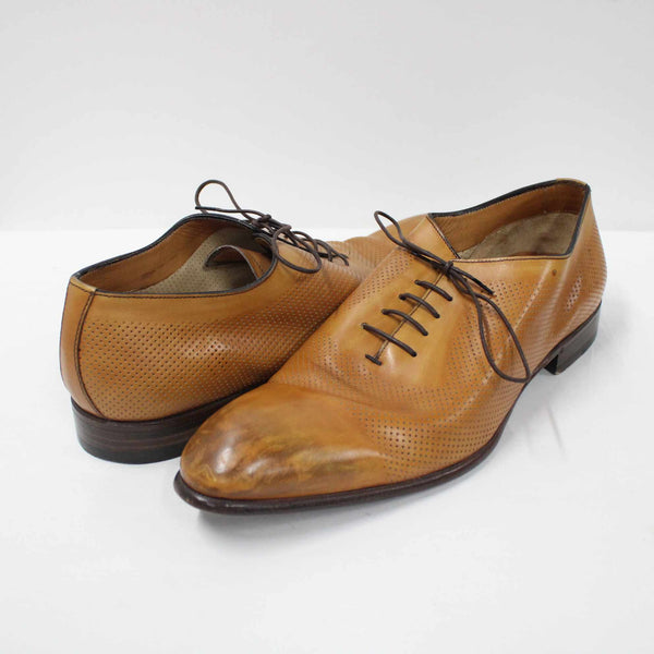 Barrett Italian Handmade Mens Tan Leather Wingtip Dress Shoes Size UK 9.5 #908