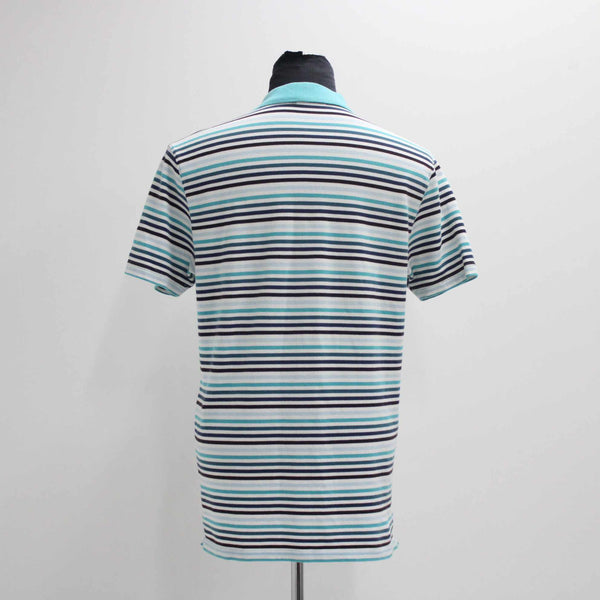 Marcs Cotton Casual Turquoise Striped Blue Polo Collared Shirt Mens Large #974