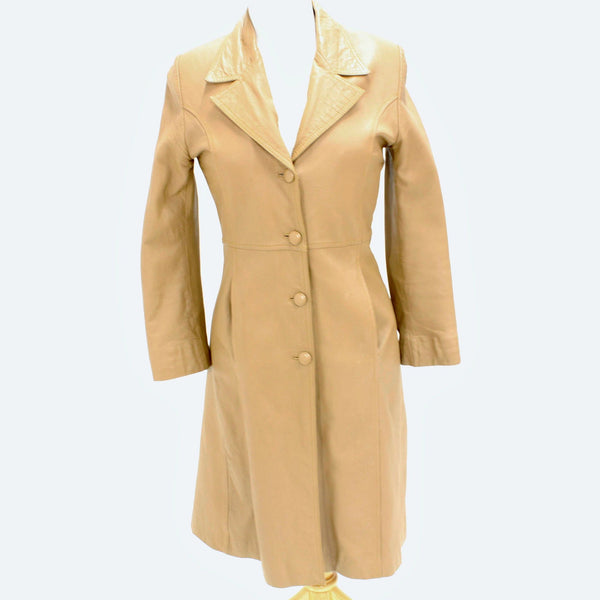 Ladies Light Brown Full Length Leather Coat Size XS #909