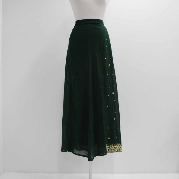 Womens Long Skirt Sari Dark Green Gold Jewel Embroidery Size 12 #410