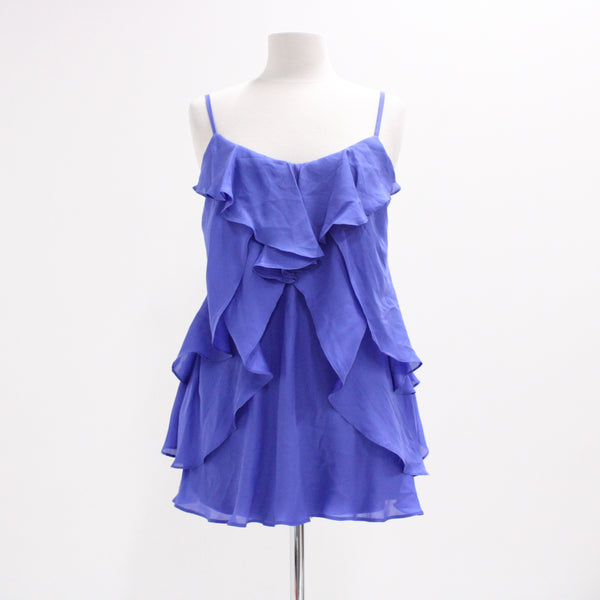 WISH Silk Slate Blue Purple Frilly Ruffle Top Size 6 XXS BNWT #405