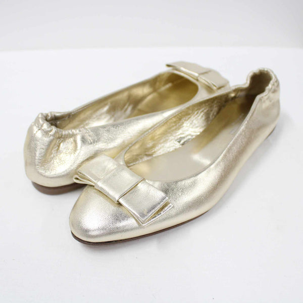 Bianca Buccheri Gold Almond Toe Bow Detail Leather Flats Made In Italy EU39 #908