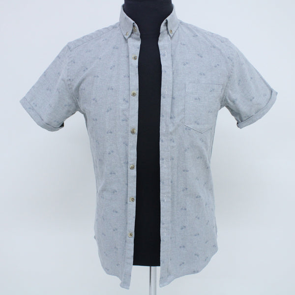 Steel & Jelly Grey/Blue Cotton Polyester Shirt With Bicycles Pattern Size S #129