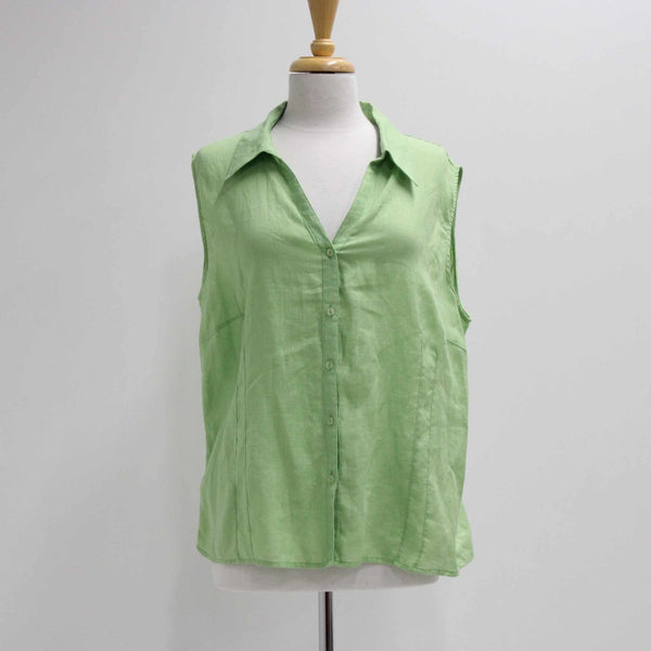 Basque Ladies 100% Linen Sleeveless Green Button Top Tapered Size 20 #403