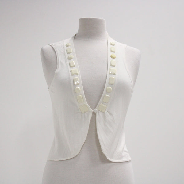 SUSSAN Sleeveless Vest with Plastic Beads Ivory - Size S #405