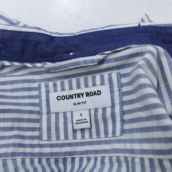 Country Road Slim Fit Long Sleeved Shirt White and Blue Stripes Size S #129