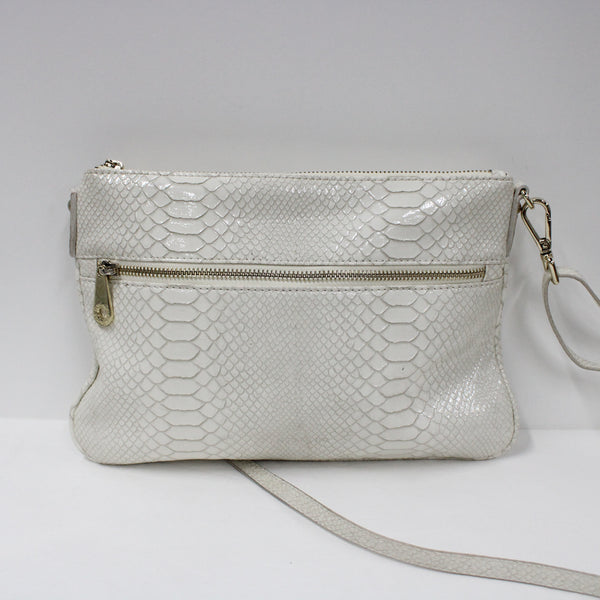 Elms & King White And Gold Replica Snakeskin Long Strap Shoulder Bag Clutch #908