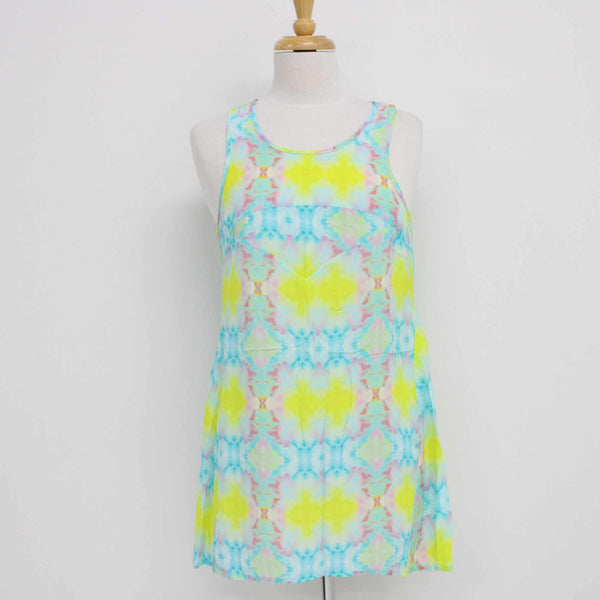 We Live By Ladies Tie Dye Print Sleeveless Mini Zip Back Mini Dress Size 1 #974