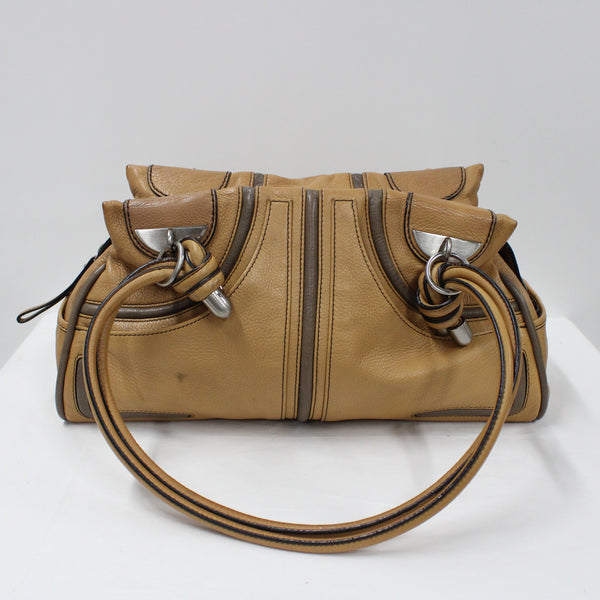 Mimco Tan Coloured Soft Leather Shoulder Handbag 2 Carry Handles #908