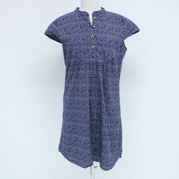 MOZI Navy Scale Pattern Cotton Tunic Dress Size M Shortsleeve #129
