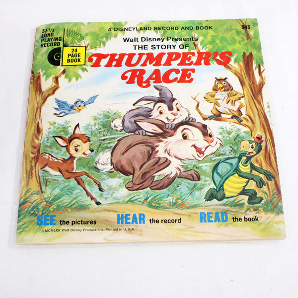 "Walt Disney Presents The Story of Thumper's Race Books with 7"" Vinyl Record #305"