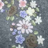 Vintage Ladies Jump Grey Lambswool Blend Floral Embroidered Cardigan #416