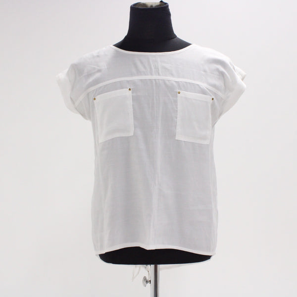 UNBRANDED Womens Top Size 7 White Cotton Blend #405