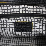 Charlie Brown Black Leather Handbag Tote with Yellow Trim #908