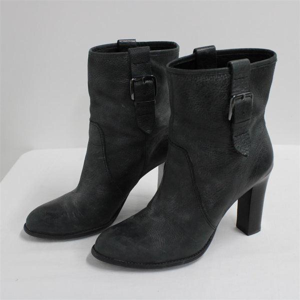 Enzo Angiolini Grey Black Leather High Heel Womens Ankle Boots Size 9½m #908