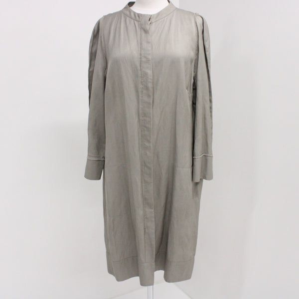 LISA HO Womens Coat Size 16 Grey Viscose Blend with Cotton Contrast #925