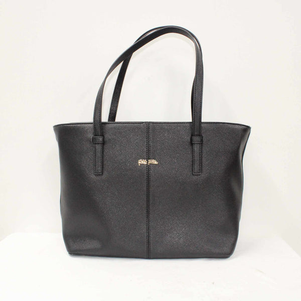 Folli Follie Black Faux Leather Saffiano Look Women's Zip Tote Handbag #452