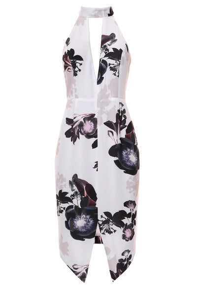 SEDUCE Size 10 Bellini Halter Dress Floral White #416