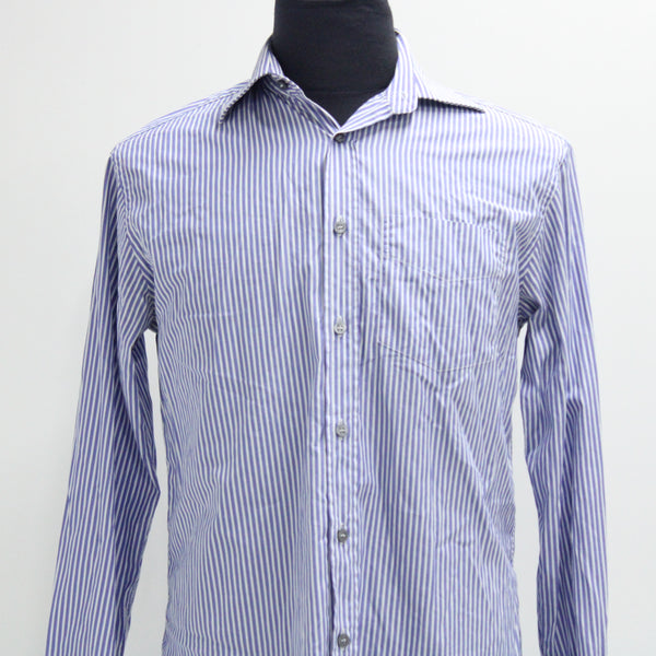 PAUL SMITH LONDON Blue & White Stripe Men's Shirt Size 38 #974