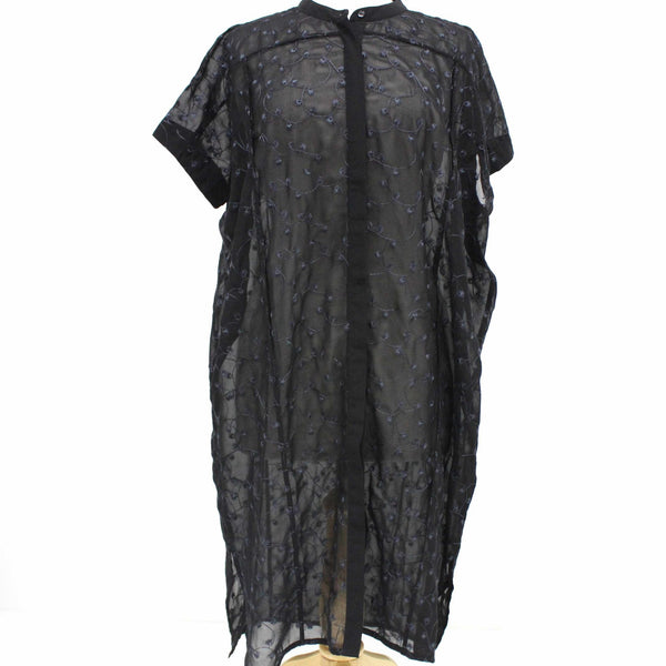 Ladies Grace Hill Black Embroidered Button Up Tunic Dress BNWT #209