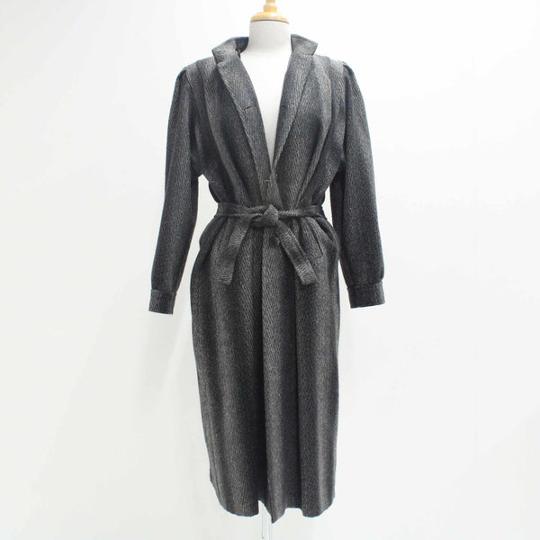 YETISGIN Women's Size 42 Grey Black Long Wool Coat Detachable Tie Belt #710