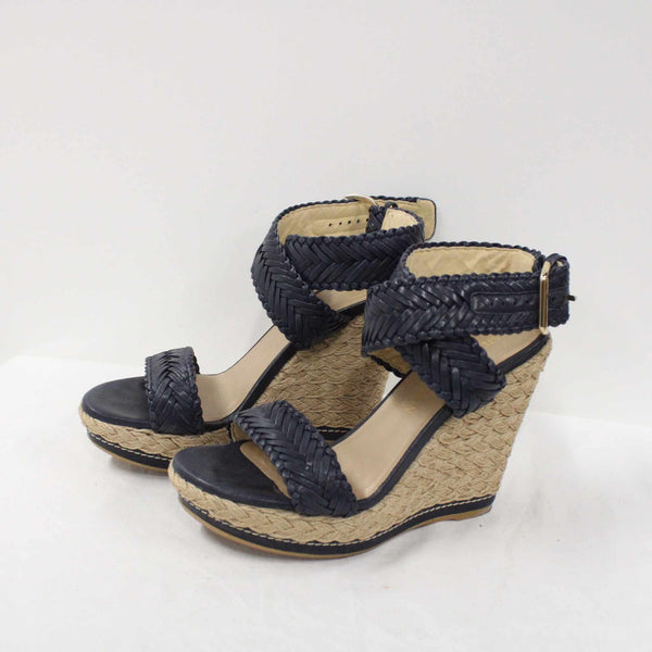 STUART WEITZMAN Elixir Braided Leather Heel Wedge Sandal EUR 38.5 #922