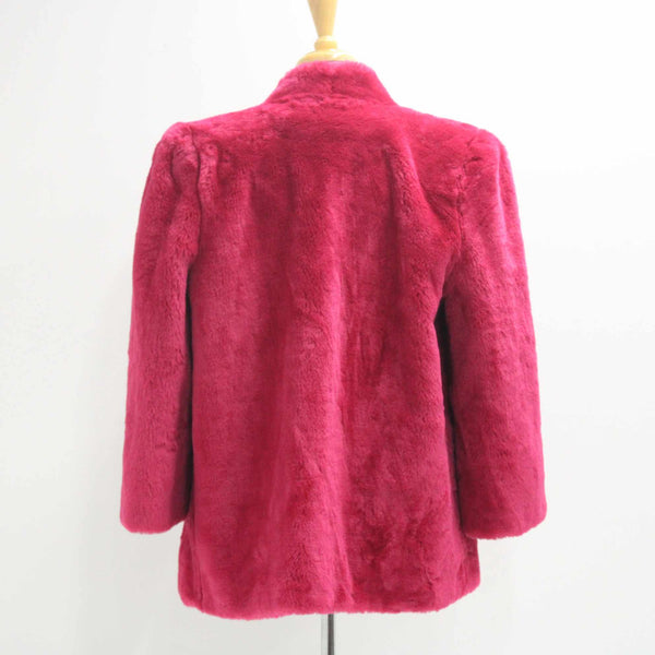 NONSTOP Women's Size 12 Fuschia Modacryl Faux Fur Jacket Hot Pink #416