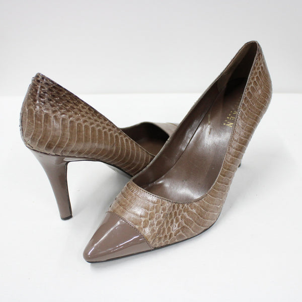 Ralph Lauren Size 9.5B Mocha Crocodile & Patent Tips Pointed Toe Pump Heels #908