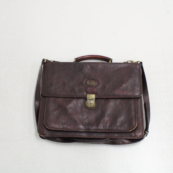 Pierre Cardin Brown Leather Briefcase Style Work Bag With Shoulder Strap #206