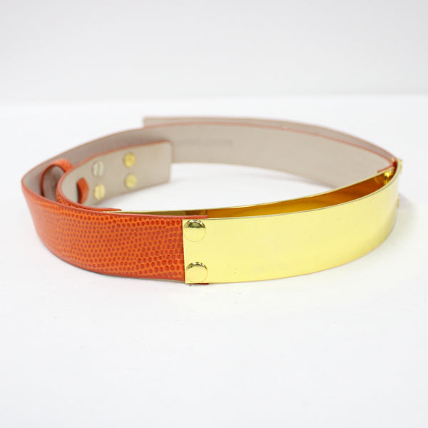 White Suede Ladies Orange Leather & Gold Metal Plate Detail Belt Size M #908