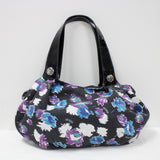 Anna Sui Ladies Black Purple Blue Cotton Material Patterned Soft Tote Bag #908
