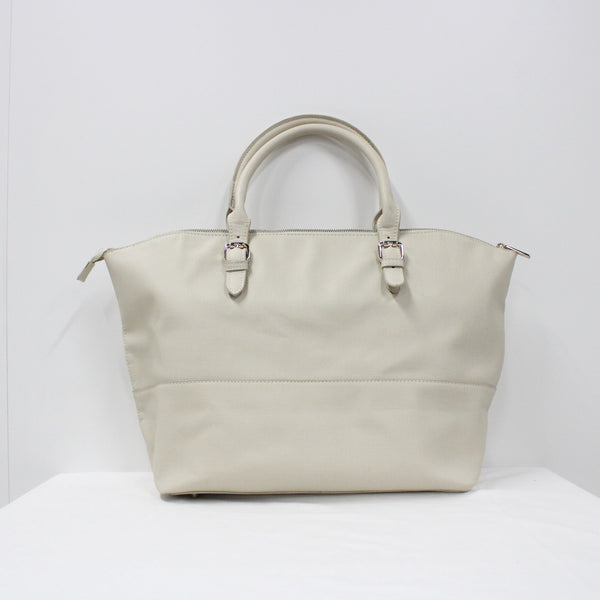Elms and King PU Faux Leather Large Cream Tote Handbag #908